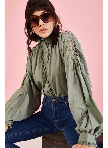 ESQ Güpür Detaylı Gömlek Yeşil